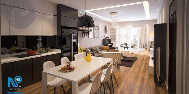 nội thất nhà phố phòng khách liền bếp